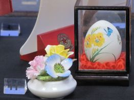 Painted Egg & China Flowers